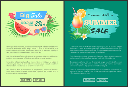 Big sale and discounts reduction of price vector banner. Juicy watermelon with sunglasses and tropical leaves, refreshing summer cocktail and flower