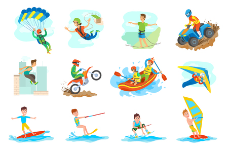People leading active lifestyle vector, set of person. Parkour and windsurfing, hang gliding and skydiving, bungee jumping and highlining, rafting water Stock Illustratie