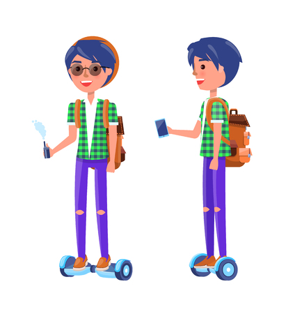 Students with gyroscooter and smoking vape in hands. Boy riding hoverboard and smiling, male wearing glasses and thorn trousers, teenagers vector Zdjęcie Seryjne - 124066525