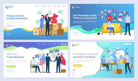 Produce in China and sell worldwide US vector. Trade relations, online without leaving home, deliver cargo anywhere in world, set of pages. Website or webpage template, landing page flat style Illusztráció