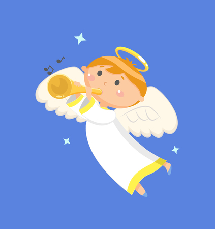 Carta da parati decorata da un angelo in volo che suona la tromba, vista verticale di ragazzo con ali e nimbo, carta con stelle e nota, strumento sonoro vettore Vettoriali