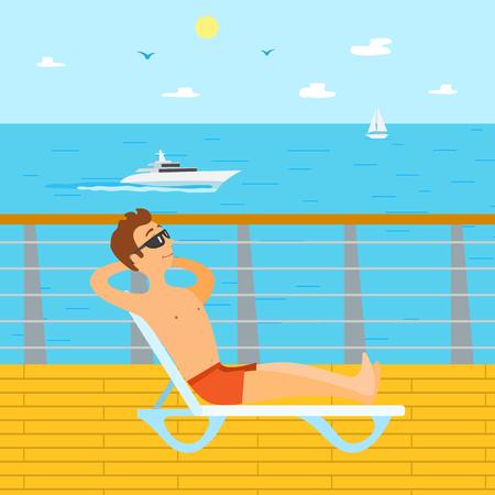 Seaside vakantie vector, man zit op de ligstoel met een zonnebril. Zonnebadende toeristen die naar zee kijken, schip op het wateroppervlak, zeilboot en heldere lucht