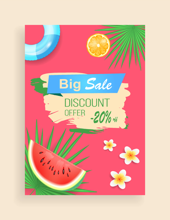 Big sale, discount offer vector shaped ribbon, leaflet sample. Watermelon and orange pieces, inflatable ring and exotic flower, palm leaves pattern Illusztráció