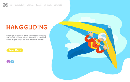 Hang gliding person vector, male piloting in air, extreme sports activities. Man diving in sky, leisure and hobby of male, active lifestyle. Website or webpage template, landing page flat style