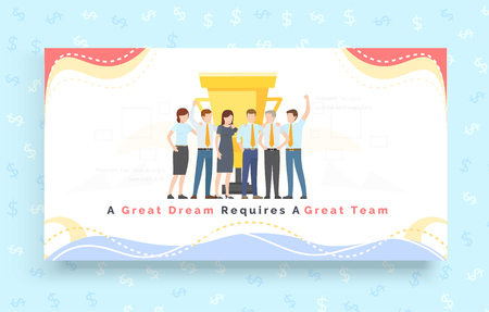 Team work together with new idea for business concept. Great dream requires great team. Winners of teamwork and cooperation for creative design. Group of people celebrate victory. Training partnership