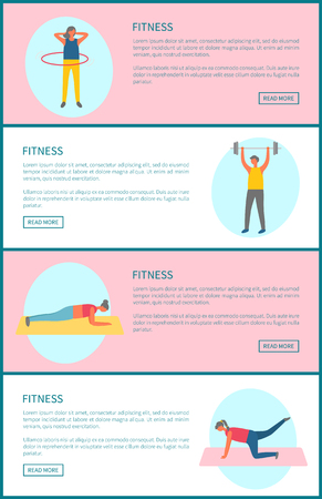 Sport gym training, fitness and healthy lifestyle tips web page templates vector. Rotating hula hup and weight lifting, plank and yoga on mat, workout
