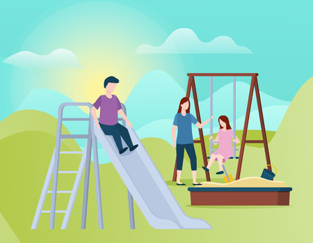 Mother with kids vector, woman with children spending time together. Woman with daughter and son, small girl on swings and boy riding. Spring vacations Ilustracja