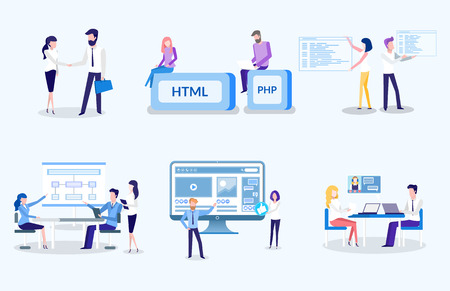 People working on new technological advancement vector, html and php, programmers and coders, man and woman on meeting. Agreement between partners at work 일러스트