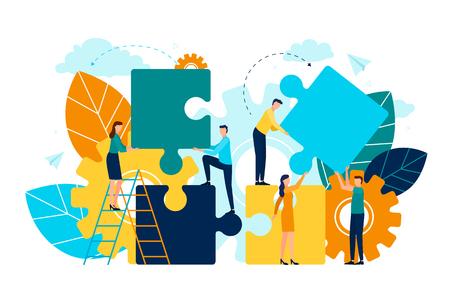 Menschen mit Puzzleteilen Vektor, Mann und Frau stehen auf Leiter, Laub und Flora. Zahnradsymbol der Prozess- und Verbesserungsprojektentwicklung Vektorgrafik