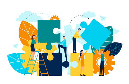 Persone con pezzi di puzzle vettore, uomo e donna in piedi su scala, fogliame e flora. Simbolo della ruota dentata del processo e dello sviluppo del progetto di miglioramento Vettoriali