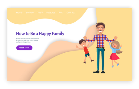 How to be happy family father and kids website vector. Page online with button and text sample, funny daddy and children, brother and sister siblings Banque d'images - 124066548