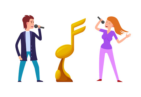 Music challenge vector, competition between singers and gold award. Performers man and woman fighting for prize, trophy in form of note. People with mics