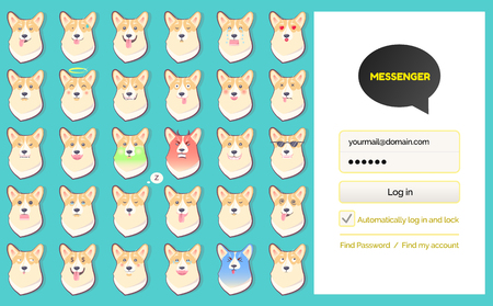 Log in page and dog sickers messenger kakao talk app vector. Corgi emoji, mobile Korean app, texting and chat service, interface element, account entering