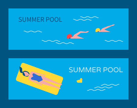 Summer pool posters set with text and people in water. Woman on yellow mattress, relaxing. Chicken toy in basin professional swimming swimmers vector