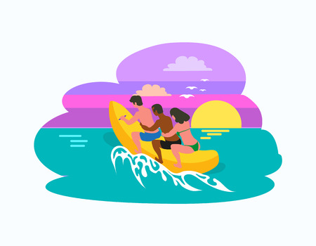 Man and woman sitting on inflatable banana boat, riding at sunset. Male and female on holidays summertime vacation, summer sea adventures of people vector Illustration