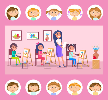 Students drawing on canvas vector, lessons at school. Art classes, pupils with pallets of gouache looking at vase with flowers and fruit, teacher with task Illustration