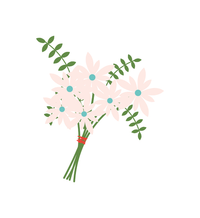 Leather fern foliage vector, decoration of springtime buds isolated icon. Bouquet tied with red thread, flora with leaves, frondage composition of flowers