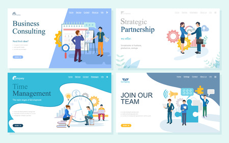 Websites with business consulting vector, join our team, strategic partnership and time management. Partners planning calendar, meeting of people. Website or webpage template, landing page flat style Illustration