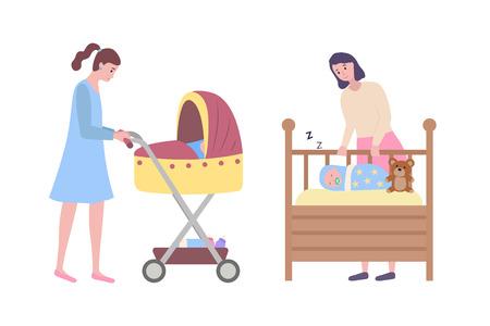 Wooden cradle with sleeping kid vector, isolated lady with perambulator comfortable crib with asleep child. Childcare motherhood and childhood set