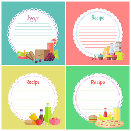 Recipe vector, empty banner with ingredients, cake and bottle of juice, potato and tomato, hamburger and pizza, cherry and grapes fruits vegetables