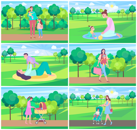 Mother and kid in park vector, mom spending time with child on nature, baby in perambulator. Care for children, childhood, greenery fair weather. Website or webpage template, landing page flat style
