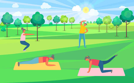 People doing exercise in park, girls on mat, squatting human. Sporty portrait view of man and woman, healthy lifestyle, stretching and pumping vector