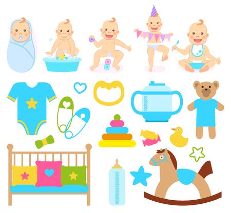 Enfants montrant des émotions vectorielles, des vêtements pour garçon, des épingles avec des coeurs, un ours en peluche et un cheval avec un support en bois. Canard et vêtements, berceau et bouteille de lait Vecteurs