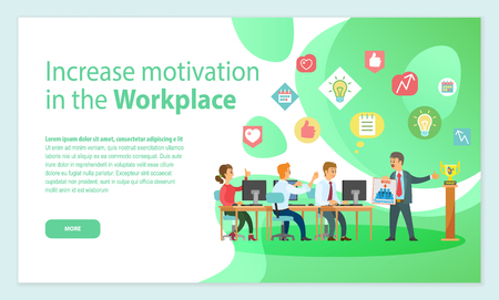 Worker standing with poster near award, people working with computers and discussing successful strategy. Green web page, increase motivation vector Illustration