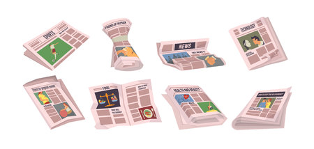 Newspapers with sports events vector, set of paper with information. Tabloids with food and technology innovations, politics and daily articles, health Illustration