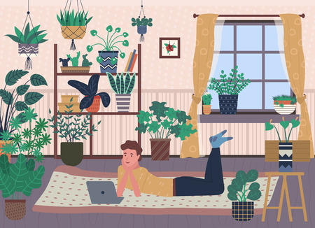 Greenhouse with plenty of pots and vases vector, shelf with potted plants, window with curtains, male watching film on laptop, guy on floor with pc