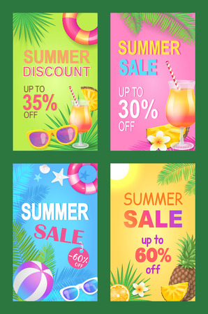 Summer discount reduction posters set vector. Seasonal proposition and sales of lifebuoy, sunglasses,,  and inflatable balls. Pineapples and cocktail