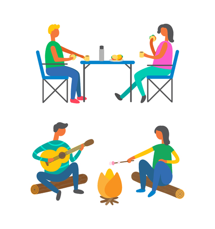 Travel, camping and outdoor activity, lunch and campfire vector. Portable furniture and burgers, bonfire and man with guitar, woman frying marshmallow Illustration
