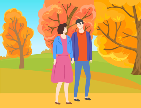 Man and woman walking in autumn park among yellow and orange trees. Vector couple in casual cloth spend time together outdoors. People in love and fall season