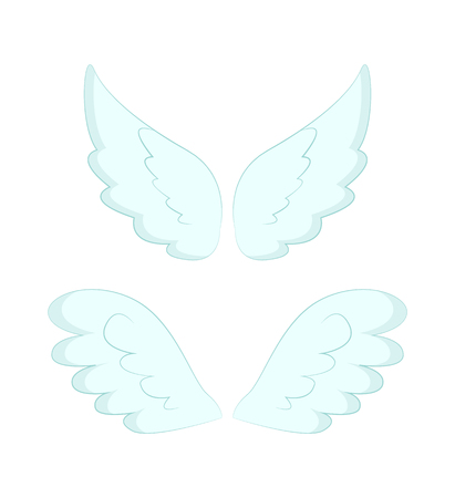 Valentines day or Christmas decor, angel wings of white feather vector. Flight and cupid or butterfly accessory, holy spirit, fantastic or mythical creature detail