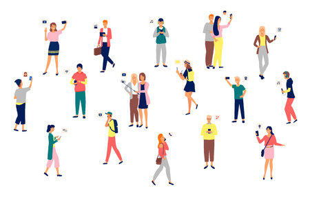 People holding smartphones in hands vector, set of man and woman. Mobile phone, selfies and listening to music, applications for connection, wifi Illustration