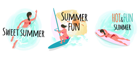 Summer vacation and relaxation, woman swimming in water vector. Sweet summertime surfboarding lady, female laying on board, surfing persons hobby