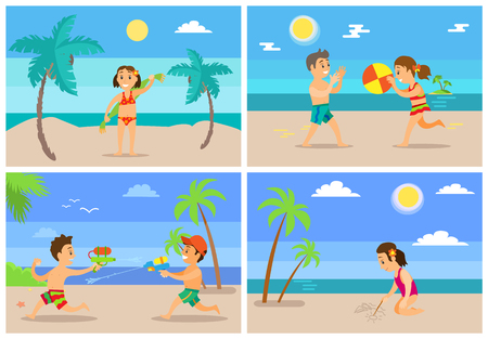 Children playing at beach vector, kids having water fight, girl holding towel, drawing on sand. Boy and girl playing ball volleyball, tropics vacation Illustration