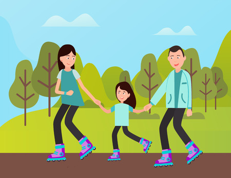 People spending time together vector, mother and father teaching kid to roll. Rollers on natural, straight road with flat surface, child with parents Illustration