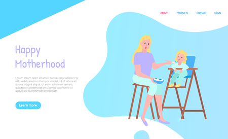 Happy motherhood web decorated by sitting people on chairs with table, portrait view of mother feeding with spoon daughter, parent and kid vector. Website or webpage template, landing page flat style Banque d'images - 124068165