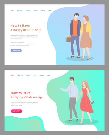 How to build happy relationship, people in love walking on date. Relaxed man and woman glad to spend time together, loving male and female. Website or webpage template, landing page flat style Иллюстрация