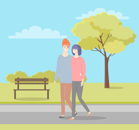 Man and woman walking in summer or spring park. Girlfriend and boyfriend in casual cloth sweaters and trousers spend time together, people in love dating