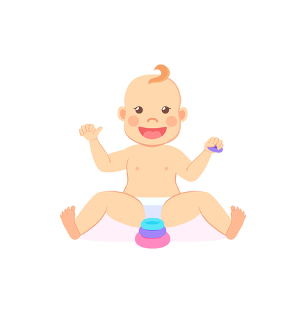 Baby milestones, eight month child sitting without support and playing with wooden blocks. Vector infant in diaper and pyramid first toy constructor isolated Illustration