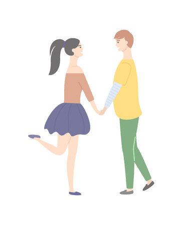 Dating teenagers, girl in short skirt standing on one leg, boy in yellow sweater and trousers isolated people. Vector cartoon students in love, male and female Illustration