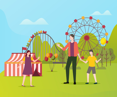 Family father with kids vector, dad with daughter and son having fun in amusement park. Man with children, ferris wheel and roundabout, selling tent