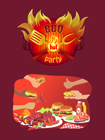 BBQ party logo in flame, hands hold grill food. Hamburgers and hot dog, fresh sandwich with beef steaks, roasted salmon, sausages