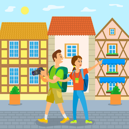 People on vacation vector, couple traveling together, walking along old city streets. Summer holiday, relaxation and sightseeing. Buildings design