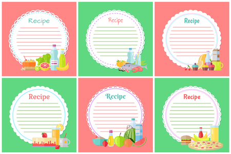 Recipe with blank banners vector, food bottles with water and jar with juice, hamburger and pizza. Watermelon and strawberry cheesecake cake dietary