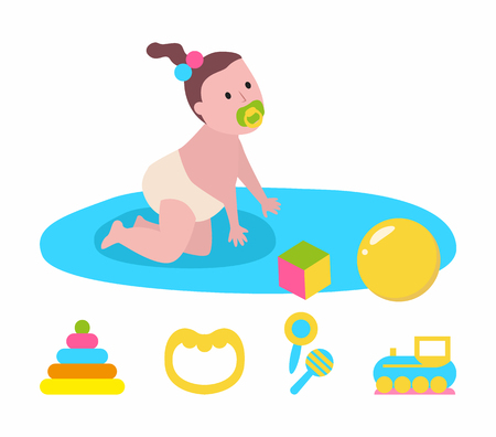 Newborn crawling on mat, daughter joying with toys, cube and ball, colorful beanbag. Side view of baby with nipple and diaper sitting on play rug vector  イラスト・ベクター素材