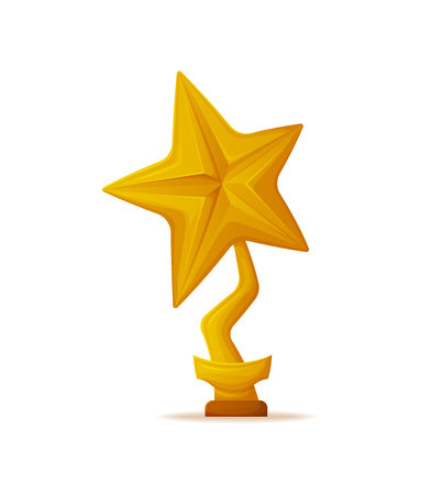 Golden star trophy award vector isolated icon. Reward in shape of reel with stripe on pedestal with name table, champion reward