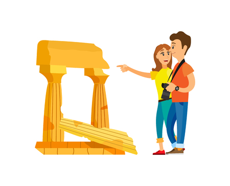 Tourists looking at old ruins of civilization vector. Man and woman traveling, historic place to visit. Couple showing attraction, pillars and stones